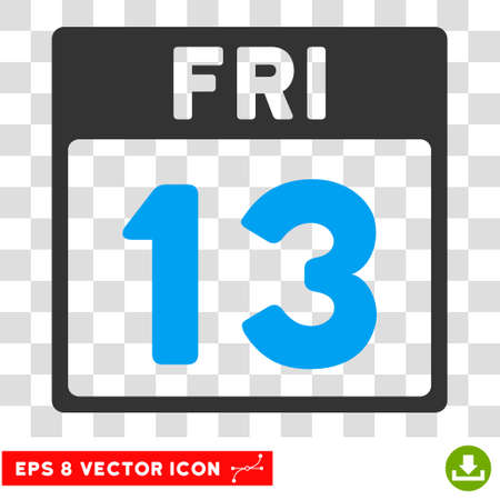 friday 13th: Vector 13 Friday Calendar Page EPS vector pictograph. Illustration style is flat iconic bicolor blue and gray symbol on a transparent background.