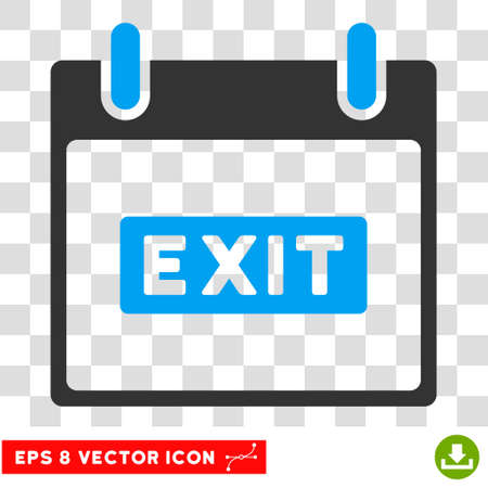 escape plan: Vector Exit Caption Calendar Day EPS vector icon. Illustration style is flat iconic bicolor blue and gray symbol on a transparent background.