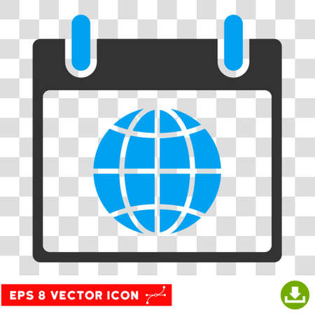 agenda browse: Vector Globe Calendar Page EPS vector pictogram. Illustration style is flat iconic bicolor blue and gray symbol on a transparent background.