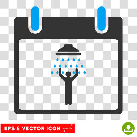 man shower: Vector Man Shower Calendar Day EPS vector icon. Illustration style is flat iconic bicolor blue and gray symbol on a transparent background. Illustration