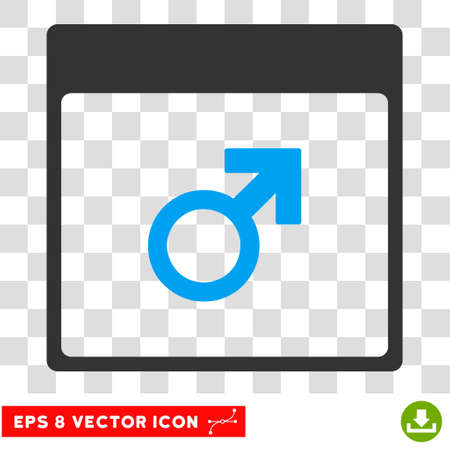 male symbol: Vector Mars Male Symbol Calendar Page EPS vector icon. Illustration style is flat iconic bicolor blue and gray symbol on a transparent background.