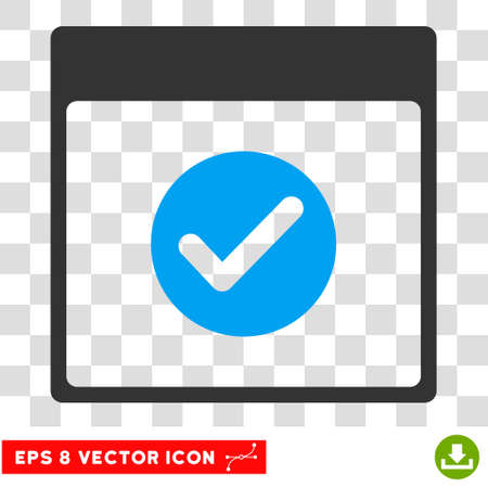 validate: Vector Ok Calendar Day EPS vector pictograph. Illustration style is flat iconic bicolor blue and gray symbol on a transparent background. Illustration