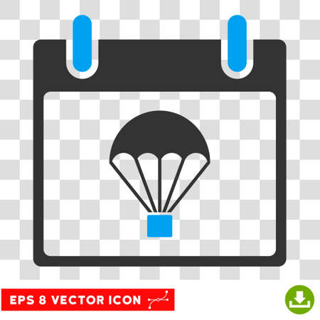 skydiving: Vector Parachute Calendar Day EPS vector pictogram. Illustration style is flat iconic bicolor blue and gray symbol on a transparent background.