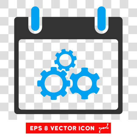 schedule system: Vector Mechanics Gears Calendar Day EPS vector icon. Illustration style is flat iconic bicolor blue and gray symbol on a transparent background.