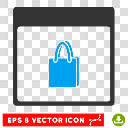 billfold: Vector Shopping Bag Calendar Page EPS vector pictogram. Illustration style is flat iconic bicolor blue and gray symbol on a transparent background.
