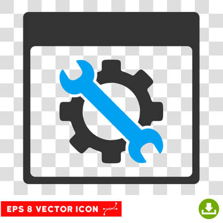 hardware tools: Vector Settings Tools Calendar Page EPS vector pictograph. Illustration style is flat iconic bicolor blue and gray symbol on a transparent background.