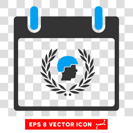 patrolman: Vector Soldier Laurel Wreath Calendar Day EPS vector pictograph. Illustration style is flat iconic bicolor blue and gray symbol on a transparent background. Illustration