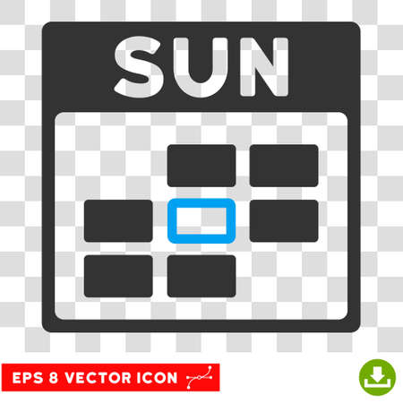 eps vector icon: Vector Sunday Calendar Grid EPS vector icon. Illustration style is flat iconic bicolor blue and gray symbol on a transparent background.