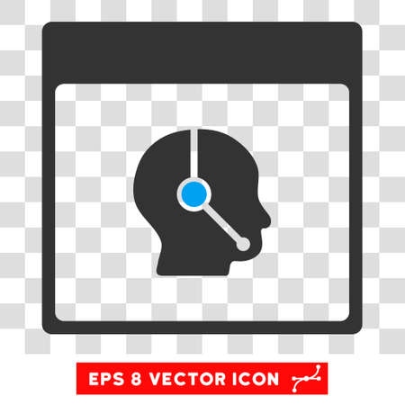 talker: Vector Telemarketing Operator Calendar Page EPS vector pictograph. Illustration style is flat iconic bicolor blue and gray symbol on a transparent background.