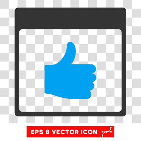 date validate: Vector Thumb Up Calendar Page EPS vector pictogram. Illustration style is flat iconic bicolor blue and gray symbol on a transparent background. Illustration