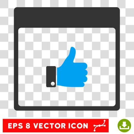 Vector Thumb Up Hand Calendar Page EPS vector pictogram. Illustration style is flat iconic bicolor blue and gray symbol on a transparent background.