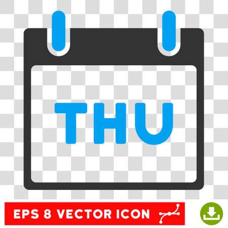 thursday: Vector Thursday Calendar Page EPS vector pictograph. Illustration style is flat iconic bicolor blue and gray symbol on a transparent background.