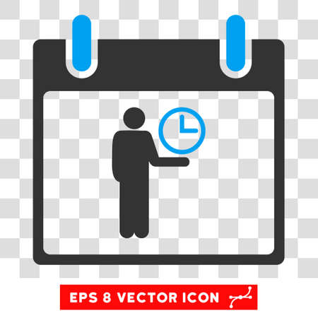 temporary workers: Vector Time Manager Calendar Day EPS vector icon. Illustration style is flat iconic bicolor blue and gray symbol on a transparent background.