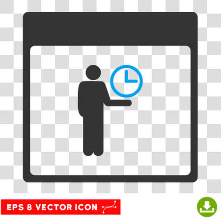 temporary workers: Vector Time Manager Calendar Page EPS vector pictograph. Illustration style is flat iconic bicolor blue and gray symbol on a transparent background.