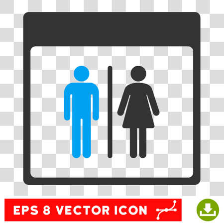 Vector Toilet Persons Calendar Page EPS vector pictogram. Illustration style is flat iconic bicolor blue and gray symbol on a transparent background. Ilustração