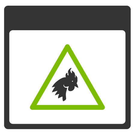 eco notice: Rooster Danger Calendar Page vector pictogram. Style is flat graphic bicolor symbol, eco green and gray colors, white background.