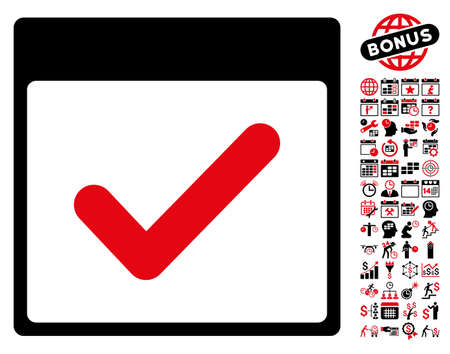 valid: Valid Day Calendar Page icon with bonus calendar and time management pictograms. Vector illustration style is flat iconic symbols, intensive red and black, white background.