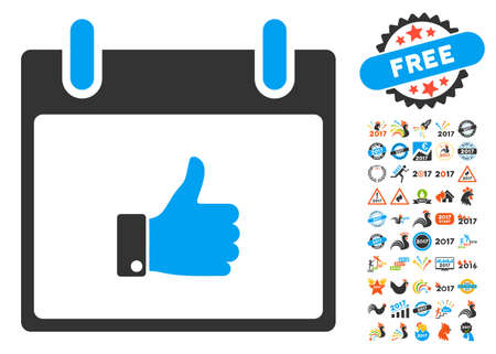 Thumb Up Hand Calendar Day pictograph with bonus calendar and time management pictures. Vector illustration style is flat iconic symbols, blue and gray colors, white background. Illustration