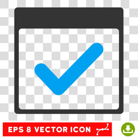 Vector Valid Day Calendar Page EPS vector pictogram. Illustration style is flat iconic bicolor blue and gray symbol on a transparent background.