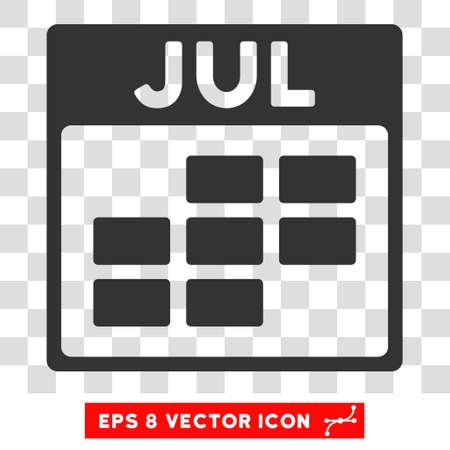 calendario julio: Vector Julio Calendario de cuadrícula EPS vector de pictograma. estilo de ilustración es el símbolo plano gris icónico en un fondo transparente.