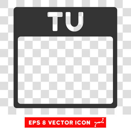 tuesday: Vector Tuesday Calendar Page EPS vector icon. Illustration style is flat iconic gray symbol on a transparent background. Illustration