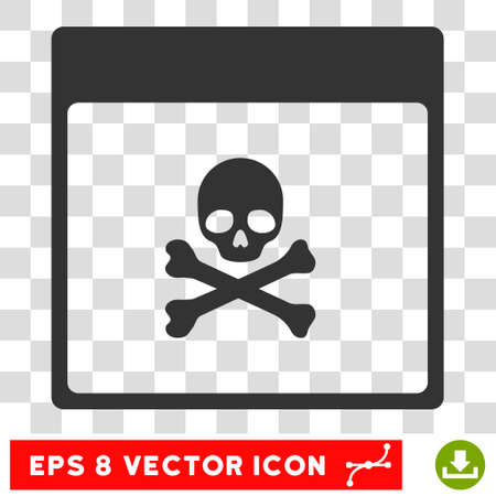 poison symbol: Vector Poison Skull Calendar Page EPS vector pictograph. Illustration style is flat iconic gray symbol on a transparent background.