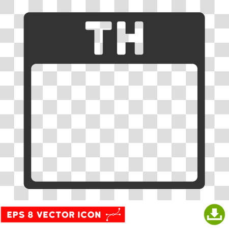 thursday: Vector Thursday Calendar Page EPS vector pictogram. Illustration style is flat iconic gray symbol on a transparent background. Illustration