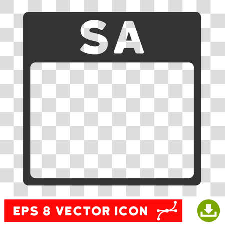 saturday: Vector Saturday Calendar Page EPS vector pictogram. Illustration style is flat iconic gray symbol on a transparent background. Illustration