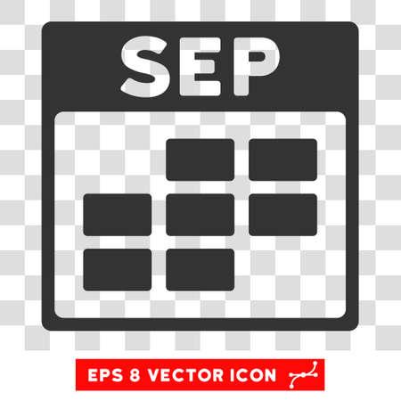 september calendar: Vector September Calendar Grid EPS vector icon. Illustration style is flat iconic gray symbol on a transparent background.