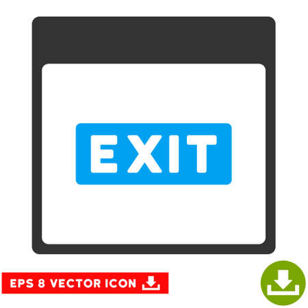 escape plan: Exit Caption Calendar Page icon. Vector EPS illustration style is flat iconic bicolor symbol, blue and gray colors. Illustration