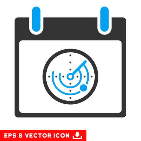 Radar Calendar Day icon. Vector EPS illustration style is flat iconic bicolor symbol, blue and gray colors. Illustration
