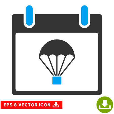 skydiving: Parachute Calendar Day icon. Vector EPS illustration style is flat iconic bicolor symbol, blue and gray colors.