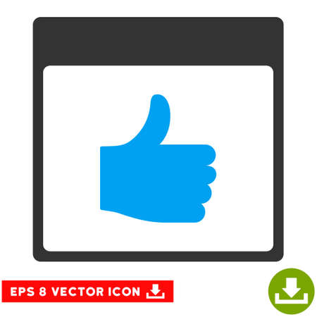 Thumb Up Calendar Page icon. Vector EPS illustration style is flat iconic bicolor symbol, blue and gray colors.