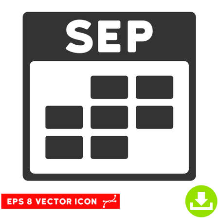 september calendar: September Calendar Grid icon. Vector EPS illustration style is flat iconic symbol, gray color. Illustration