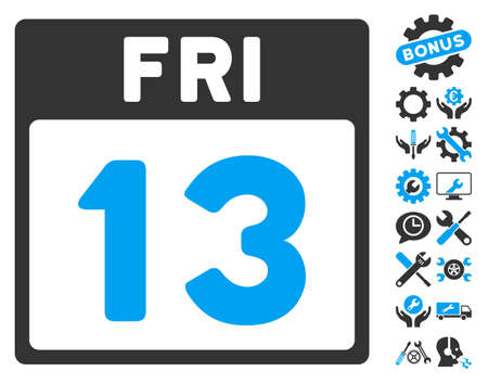 13 Friday Calendar Page icon with bonus settings graphic icons. Vector illustration style is flat iconic symbols, blue and gray, white background.