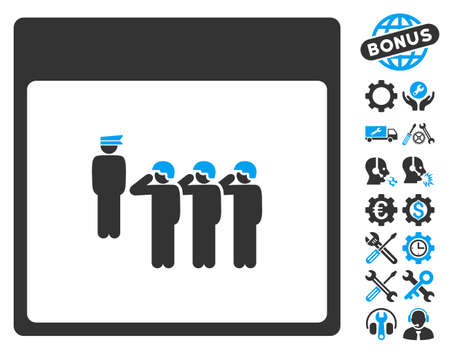 configure: Army Squad Calendar Page pictograph with bonus settings graphic icons. Vector illustration style is flat iconic symbols, blue and gray, white background.