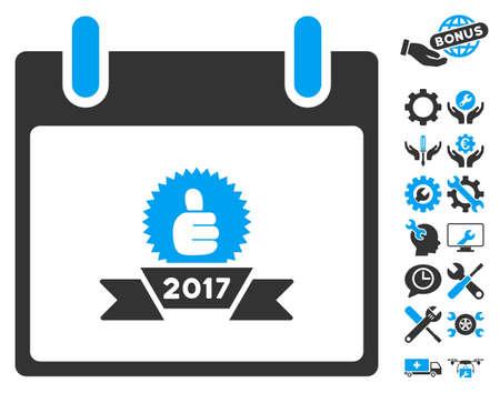 configure: 2017 Award Ribbon Calendar Day icon with bonus setup tools symbols. Vector illustration style is flat iconic symbols, blue and gray, white background.