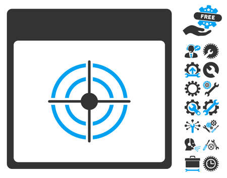 goal setting: Bullseye Calendar Page pictograph with bonus setup tools pictures. Vector illustration style is flat iconic symbols, blue and gray, white background. Illustration