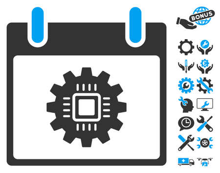 Chip Gear Calendar Day icon with bonus setup tools symbols. Vector illustration style is flat iconic symbols, blue and gray, white background.