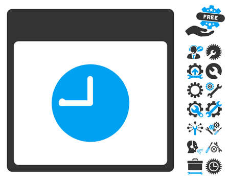 Clock Calendar Page pictograph with bonus settings graphic icons. Vector illustration style is flat iconic symbols, blue and gray, white background. Illustration