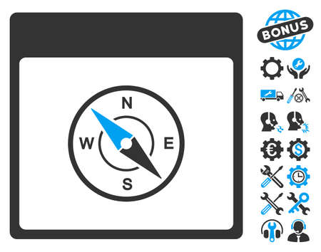 Compass Calendar Page pictograph with bonus setup tools icon set. Vector illustration style is flat iconic symbols, blue and gray, white background. Illustration