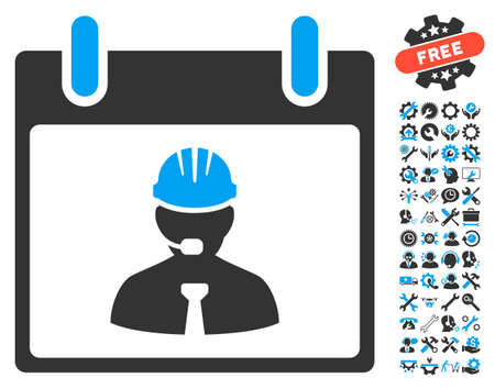 setup man: Engineer Calendar Page icon with bonus tools images. Vector illustration style is flat iconic symbols, blue and gray, white background.