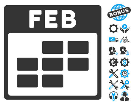 february calendar: February Calendar Grid pictograph with bonus options images. Vector illustration style is flat iconic symbols, blue and gray, white background.