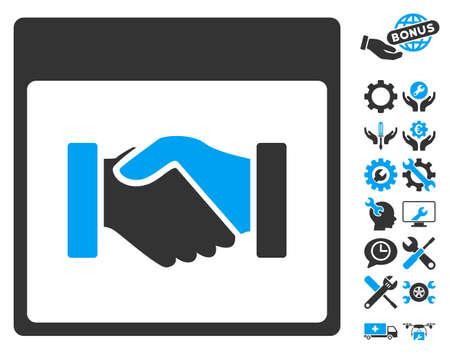 configuration: Handshake Calendar Page pictograph with bonus configuration symbols. Vector illustration style is flat iconic symbols, blue and gray, white background.