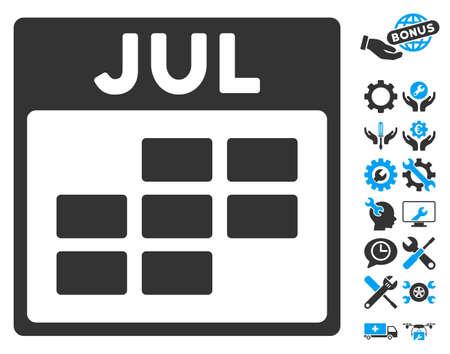calendario julio: Julio icono de cuadrícula del calendario con opciones de bonos imágenes. estilo de ilustración vectorial símbolos icónicos es plana, azul y gris, fondo blanco.