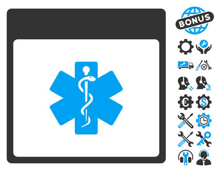 star of life: Medical Life Star Calendar Page pictograph with bonus setup tools images. Vector illustration style is flat iconic symbols, blue and gray, white background. Illustration