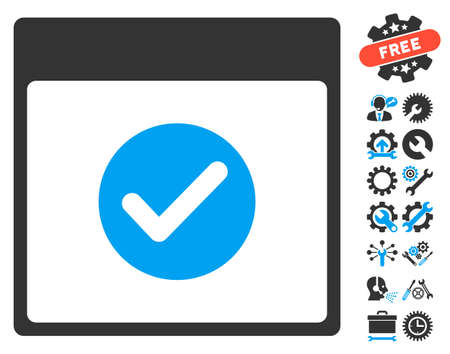 date validate: Ok Calendar Day pictograph with bonus setup tools symbols. Vector illustration style is flat iconic symbols, blue and gray, white background.