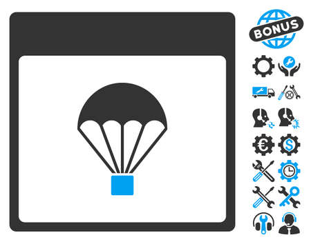 configure: Parachute Calendar Page pictograph with bonus service symbols. Vector illustration style is flat iconic symbols, blue and gray, white background.