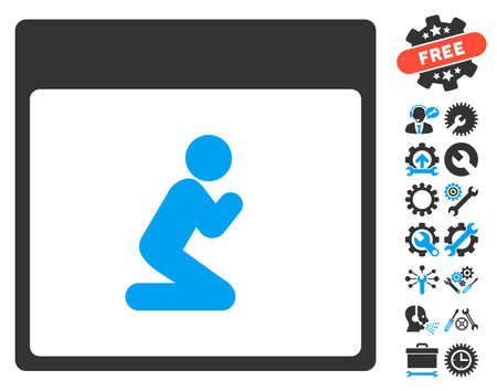 configure: Pray Person Calendar Page icon with bonus options pictograms. Vector illustration style is flat iconic symbols, blue and gray, white background.