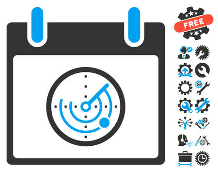 blip: Radar Calendar Day icon with bonus configuration pictures. Vector illustration style is flat iconic symbols, blue and gray, white background.